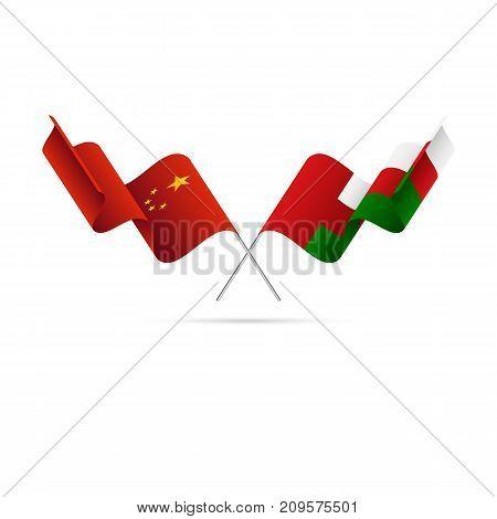 China and Oman flags. Waving flags. Vector illustration.