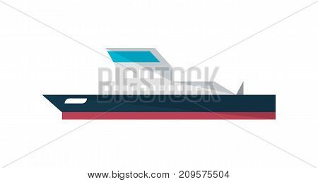 Commercial ship icon in flat design. Global shipping, worldwide delivery service vector illustration isolated on white background.