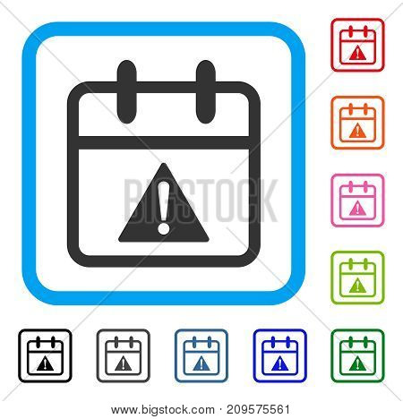 Problem Day icon. Flat grey iconic symbol in a light blue rounded square. Black, gray, green, blue, red, orange color versions of Problem Day vector. Designed for web and app UI.