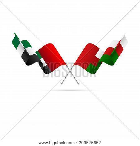United Arab Emirates and Oman flags. Vector illustration.