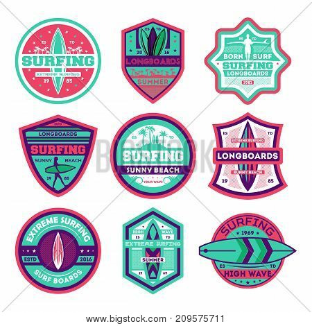 Longboard surfing club vintage isolated label set. Extreme surfing competition, summer surf championship, sport society icon, athletic beach camp logo. Windsurfing badge collection vector illustration
