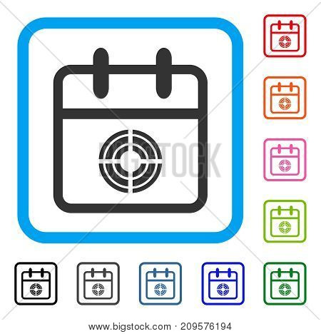 Target Day icon. Flat gray pictogram symbol inside a light blue rounded frame. Black, gray, green, blue, red, orange color additional versions of Target Day vector.