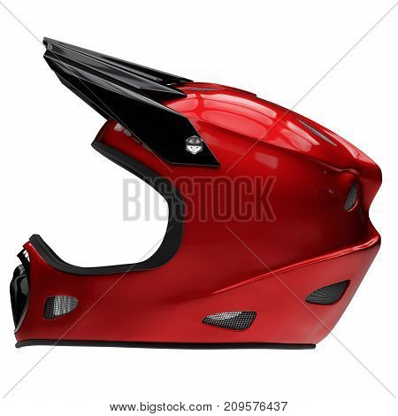 Motor Sport Full Face Helmet Isolated. Side view. Sport equipment. Red color. 3D render Illustration Isolated on white background.