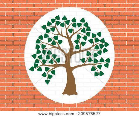 Tree Illustration On Orange-brick Wall. Brown Tree, Green Foliage