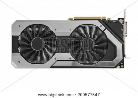 Video Graphics card with powerful GPU isolated on white background. Might be used to mine cryptocurrencies. Closeup photo with shallow depth of field.