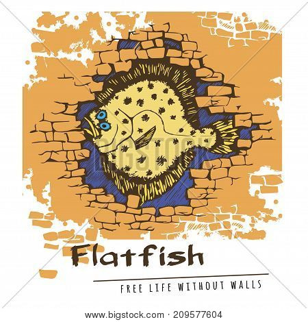 Sketchy latfish in a brick wal in cartoon style