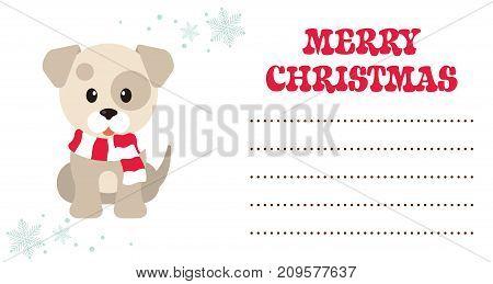 cartoon winter dog christmas card vector image