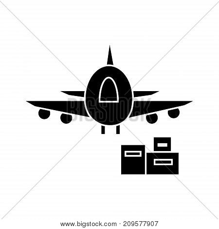 air logistics, fast delivery  icon, vector illustration, black sign on isolated background