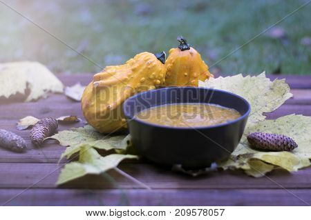 Pumpkin fricassee.Pumpkin soup in a little brown bowl on a wooden background. Autumn time. Leaves and pumpkins