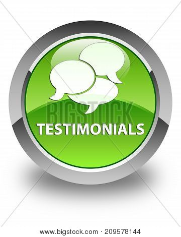 Testimonials (comments Icon) Glossy Green Round Button