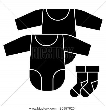 baby dress, rompers and socks  icon, vector illustration, black sign on isolated background