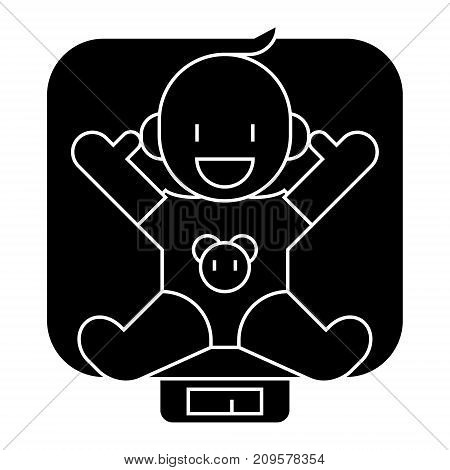 baby on scales  icon, vector illustration, black sign on isolated background
