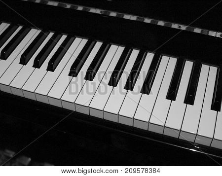 Standard size piano keyboard in black and white