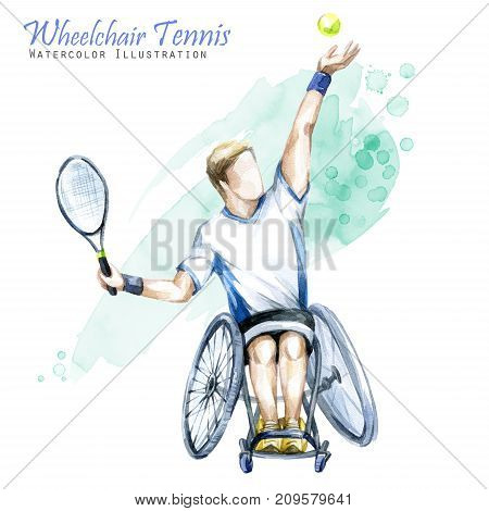 Watercolor illustration. Wheelchair Tennis sport. Figure of disabled athlete in the wheelchair with a racket. Active people. Man. Disability and social policy. Social support.