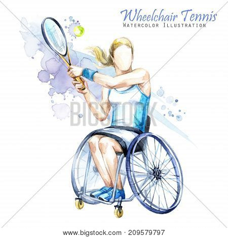 Watercolor illustration. Wheelchair Tennis sport. Figure of disabled athlete in the wheelchair with a racket. Active people. Woman. Disability and social policy. Social support.