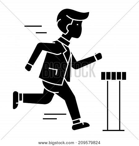 businessman running to finish  icon, vector illustration, black sign on isolated background