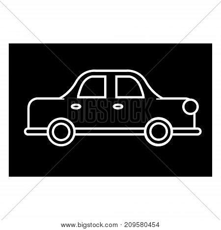 car auto retro  icon, vector illustration, black sign on isolated background