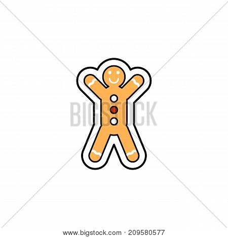 Vector illustration of a Christmas ginger bread man. Christmas and New Year theme.