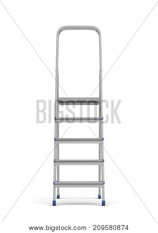 3d rendering of a single metal builder's step ladder with blue fittings isolated on white background. Working on height. Building and construction. Manual work.