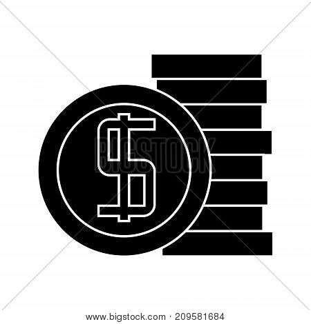 coins  icon, vector illustration, black sign on isolated background