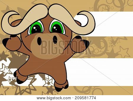 sweet little oxen baby cartoon jumping background in vector format