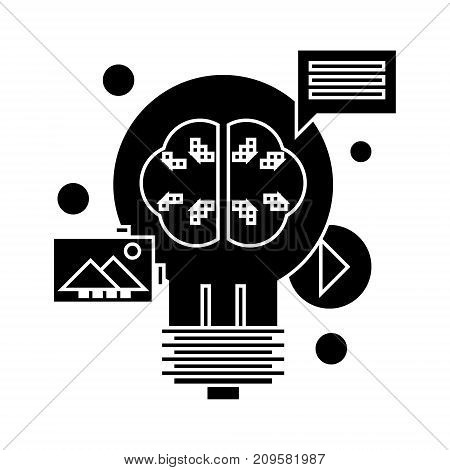 content marketing  icon, vector illustration, black sign on isolated background
