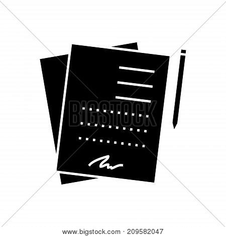 contract signing documents  icon, vector illustration, black sign on isolated background