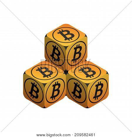 Bitcoin. Orange Small Bitcoin Pyramid