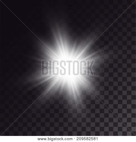 White sun shining brightly. Light effect of exploded star with soft beams.
