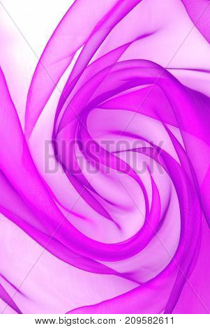 closeup of the purple organza fabric wavy texture