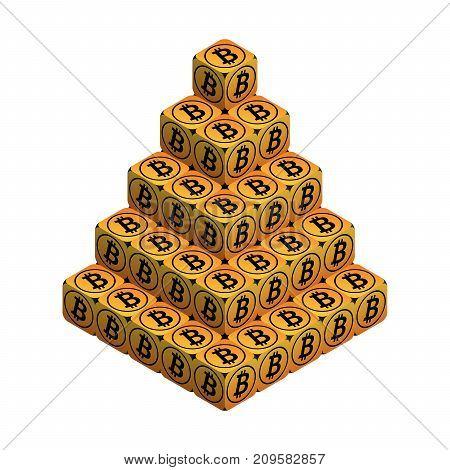 Bitcoin. Orange Large Bitcoin Pyramid