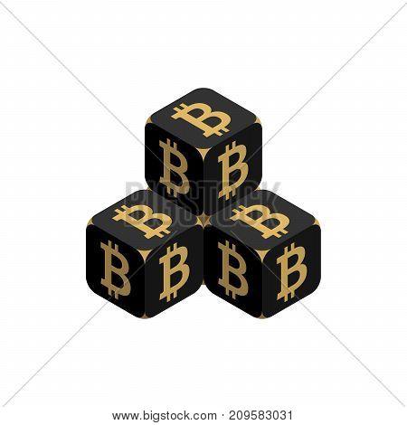 Bitcoin. Black Small Bitcoin Pyramid