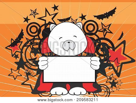 sweet polar bear dracula costume halloween background in vector format