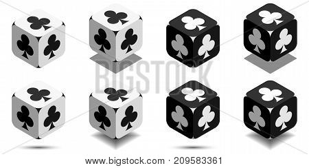 Cube With Card Club In Black And White Colors, Vector Icon Of Playing Club