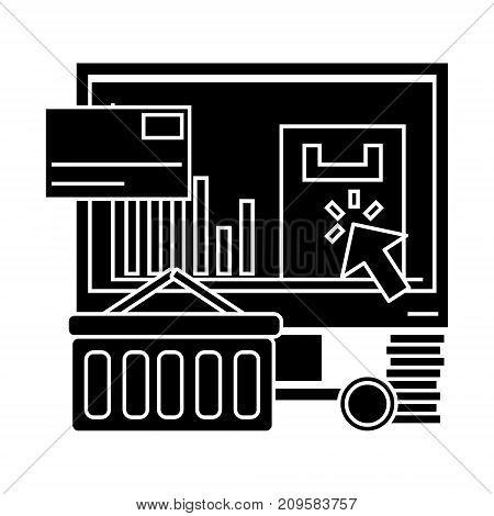 e commerce  icon, vector illustration, black sign on isolated background