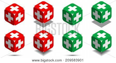 Cube with medical cross in red and green colors isometric cube of health with rounded angles and white medical cross on sides vector icon of medicine cube