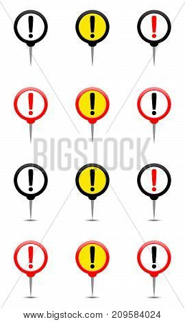 Round pin with exclamation mark exclamation point marker