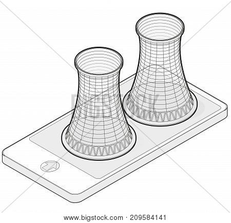 Vector isometric cooling system of nuclear power plant in mobile phone. Isolated on white background. Outlined cooling towers in communication technology. Power plant tower. Industrial architecture.