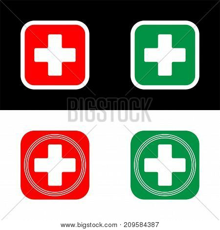 Medical cross vector icon of medical cross flat illustration