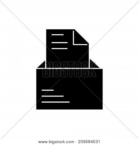 email open with letter  icon, vector illustration, black sign on isolated background