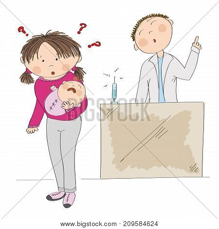 Puzzled young mother holding her baby girl, thinking about vaccination and autism risk. Doctor standing behind depicted as a saint and arguing her into immunization. Original hand drawn illustration.