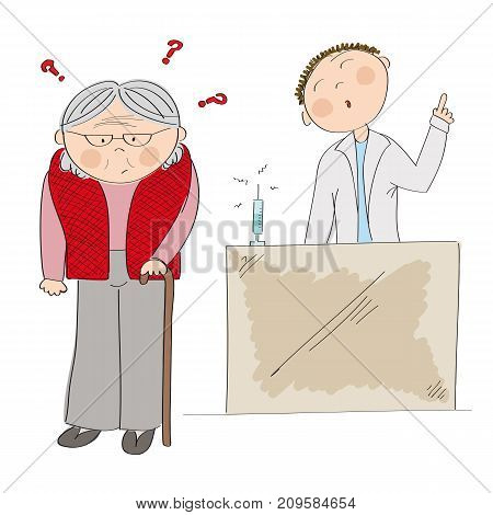 Puzzled old lady or grandmother thinking about vaccination. Doctor standing behind and arguing her into immunization. Original hand drawn illustration.