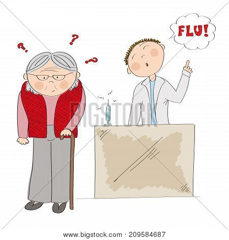 Puzzled old lady or grandmother thinking about vaccination - flu shot. Doctor standing behind and arguing her into immunization. Original hand drawn illustration.