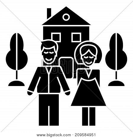 family with house  icon, vector illustration, black sign on isolated background