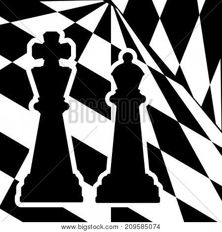 Chessboard with a chess pieces King and Queen. Traditional Christmas holiday game.