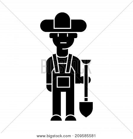 farmer  icon, vector illustration, black sign on isolated background