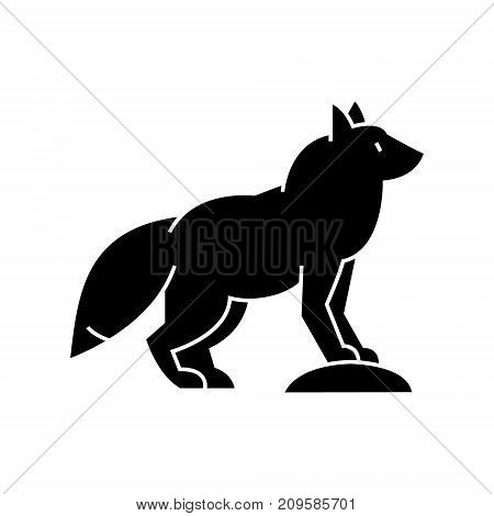 fox  icon, vector illustration, black sign on isolated background