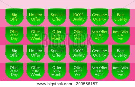 Offer ribbon set ribbon banner green ribbon bookmark vector quality label. Big offer Limited offer Special offer Genuine quality Best quality Hundred percent