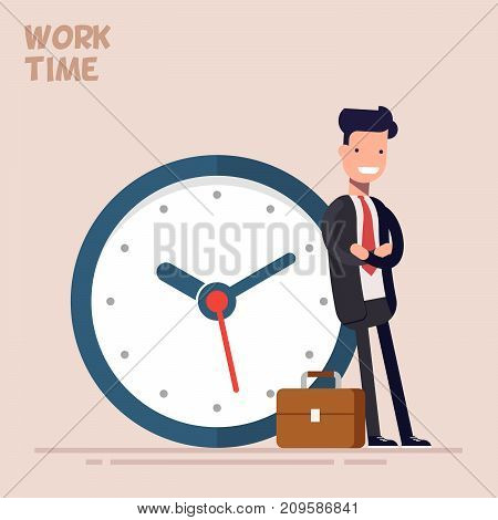 Happy businessman or manager is standing near a big clock. Vector illustration in a flat style. Concept of time management