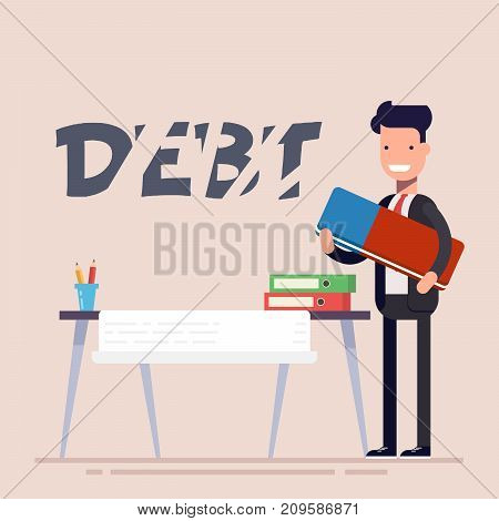Happy businessman or manager at the workplace erasing the inscription of the debt by an eraser. Vector illustration in flat style